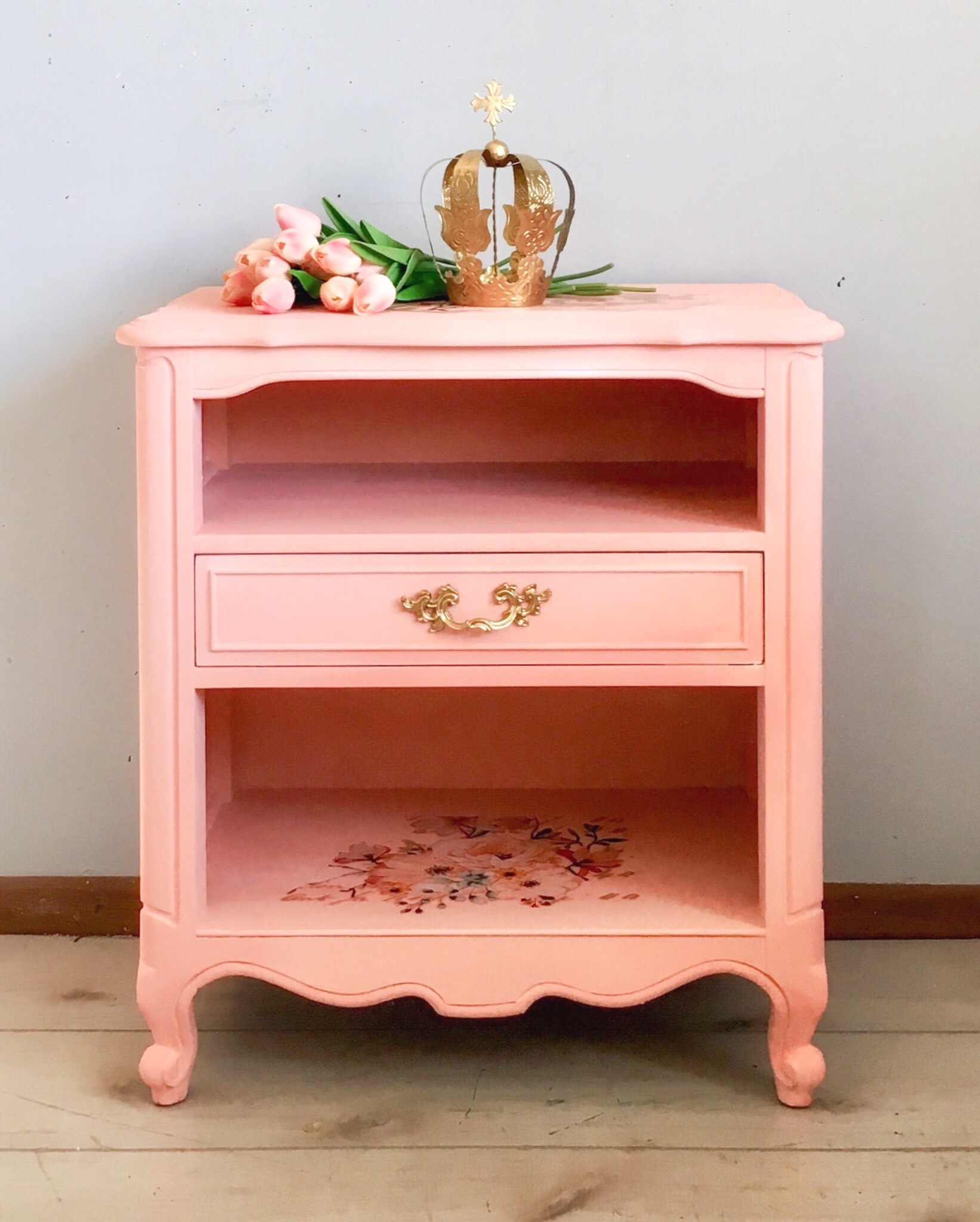 This little table was painted in an adorable shade of Pink and then given a bit of character using the Rose Celebration Decor Transfer™. The coolest thing about this is- she used leftover pieces from her French Provincial dresser…isn't it great when you get a little more bang for your buck?