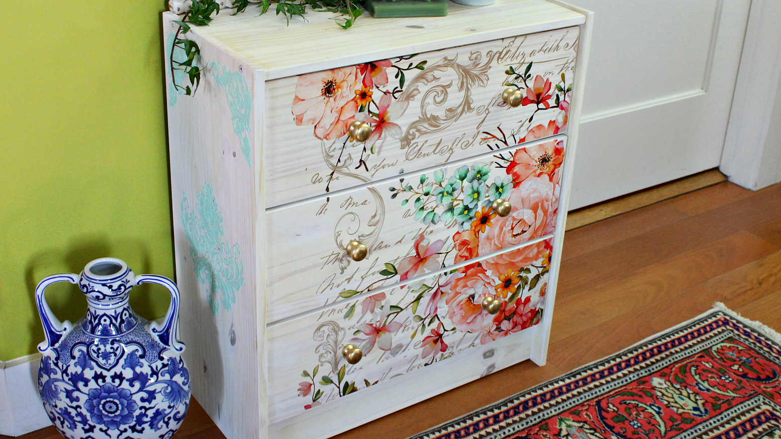 Here you can see the designs on the side of the dresser using the Chalk Paste® and 3D stencils—just beautiful! It carried some of the bold color to the sides for added detail that enhances the overall project.  Here are the [re]design products used for this project: