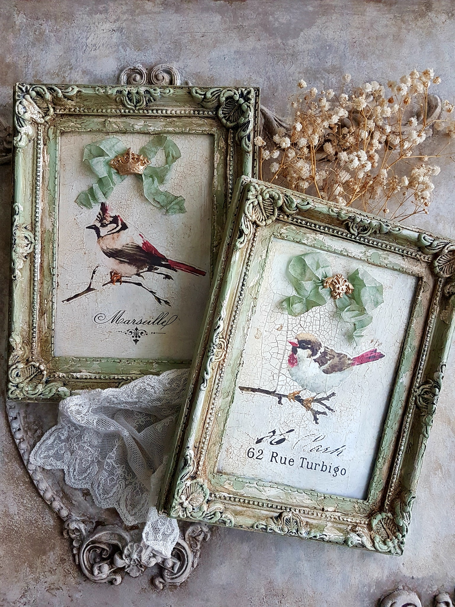Can you believe these started out as plastic frames? Its amazing what she did to make them go from boring to wow using her talents! For this set, she used Chalk Paste®, Finnabair White Crackle Paste and Van Dyke Glaze by Dixie Belle Paint company.