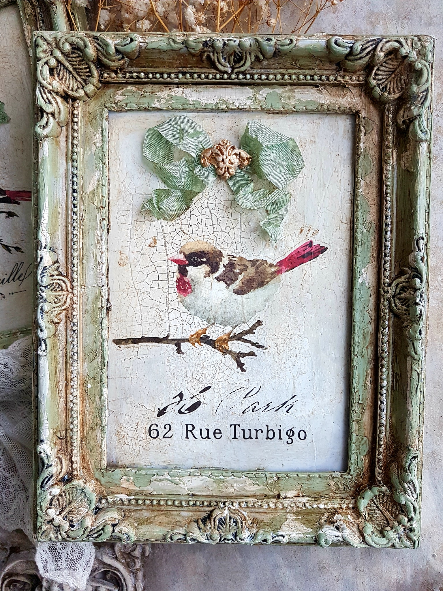 Next, she created botanical themed artwork using a variety of Decor Transfers™-Fern Woods, Gilded Baroque and words from the Parisian Butterfly set.