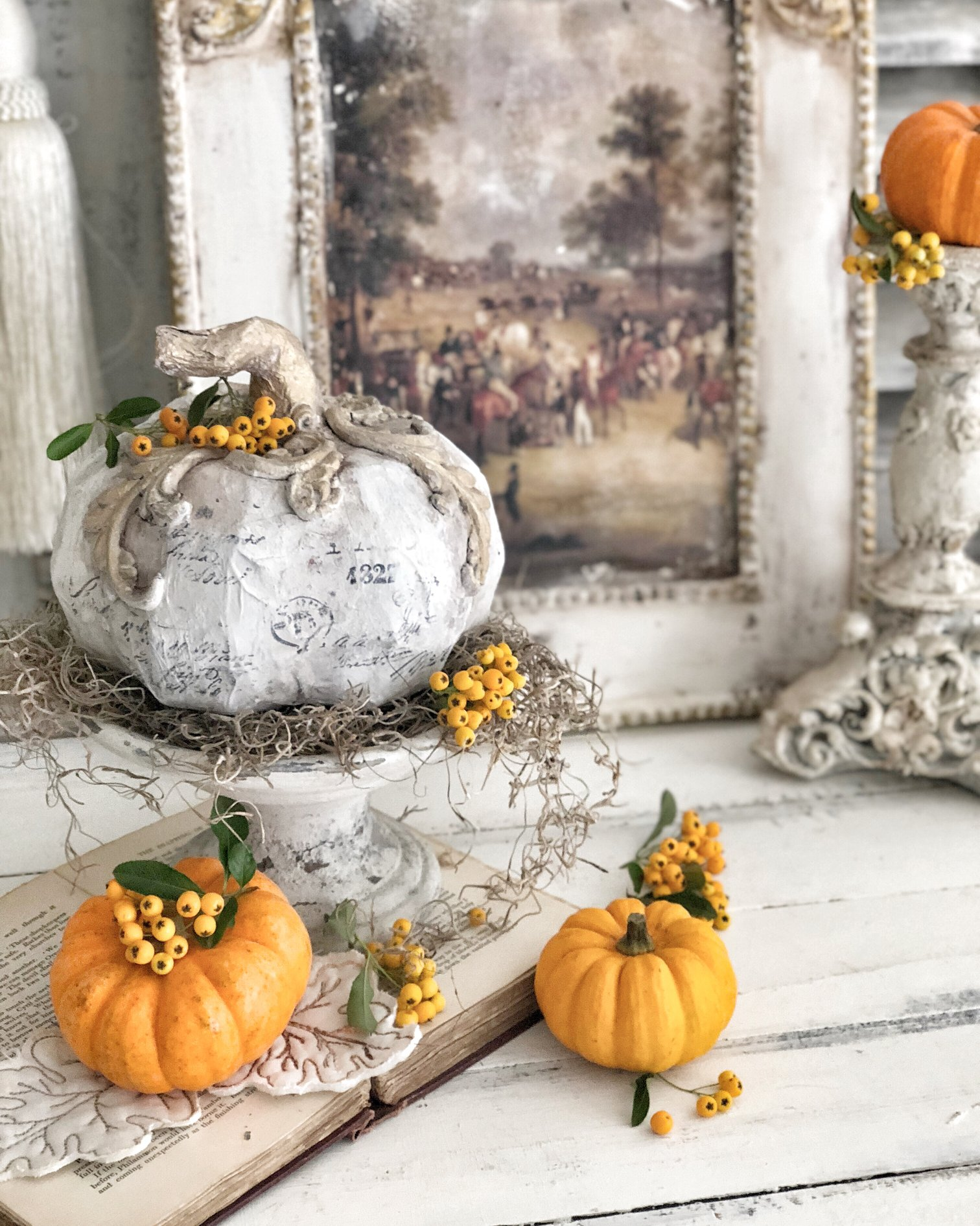Her pumpkin got a bit of a makeover as well using the paper clay and Decor Moulds™-its so sweet! Here is a 101 video showing you how to use the clay in the mould and applying it to a project..the visuals are always so helpful-don't you think?