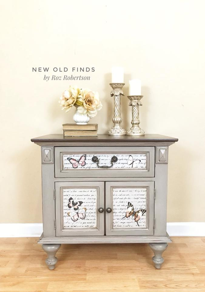 Isn't this sweet? Roz applied the Decor Transfer™ Never Ending Story 635596-as her base design to the drawer front and doors. Then she added whimsical butterflies from our Parisian Butterfly Decor Transfer™ set…..