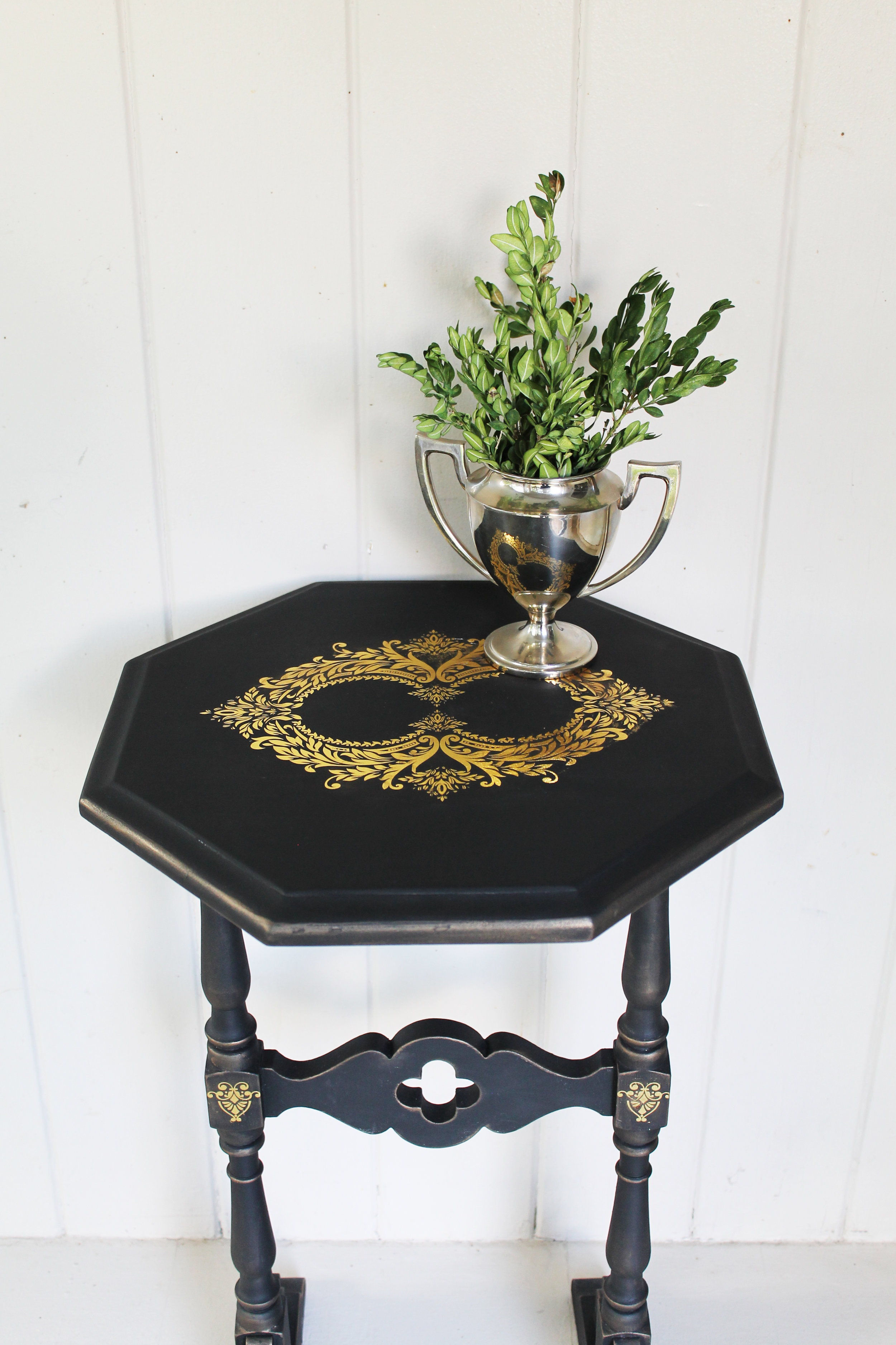 We used the Gilded Baroque Scrollwork Decor Transfer™ set and added the large design on the top. Then we added two smaller images on the legs. You can layer the transfers too. That allows you to create your own custom images or designs to fit the projects you are working on.