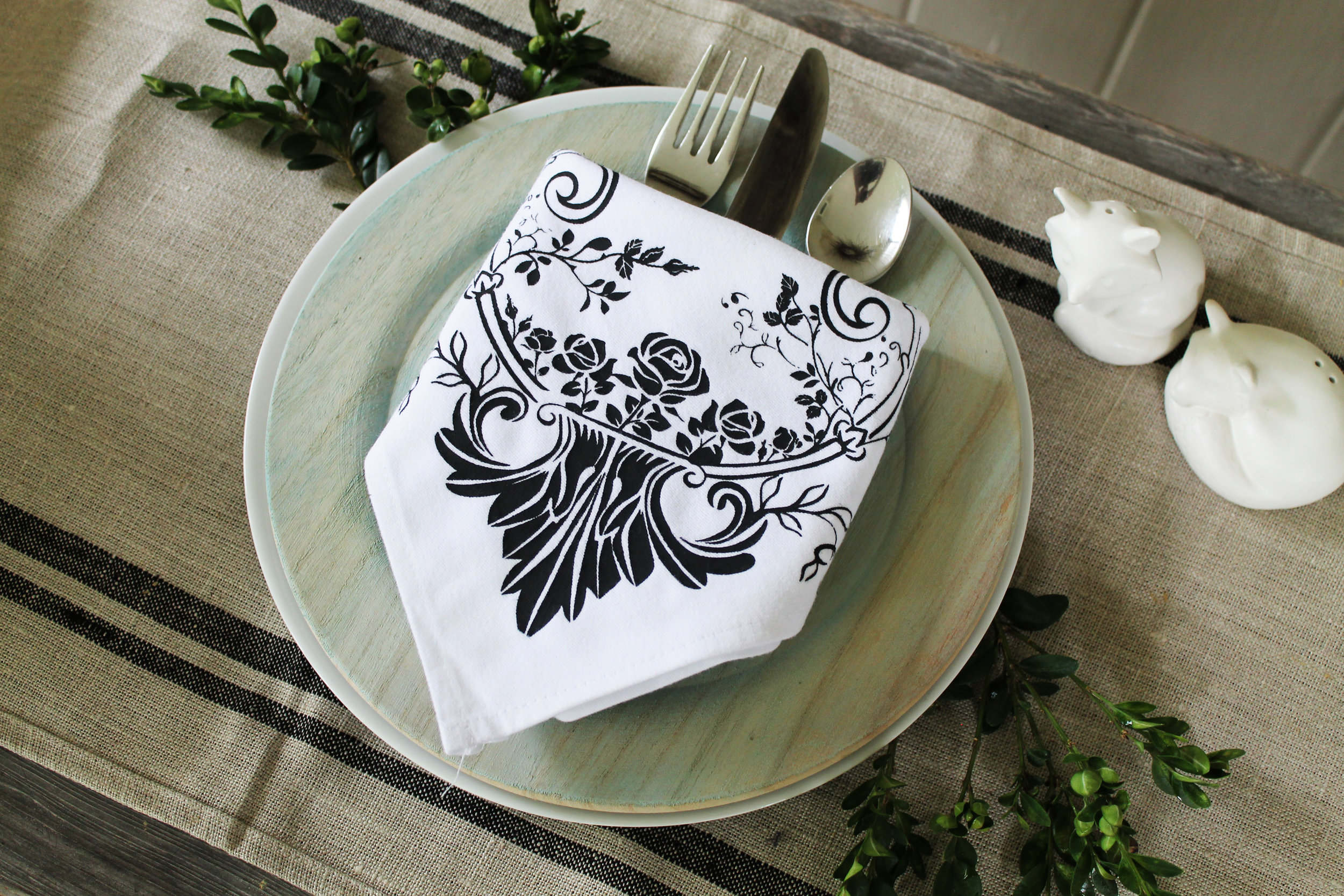 We released  7 new Silk Screen Stencil designs  that have delicate images, perfect for furniture, textiles, walls and more. Cari used the Provence Rose stencil (632717) on our Napkin set (633929) which includes four napkins in the set and they made from 100% cotton.