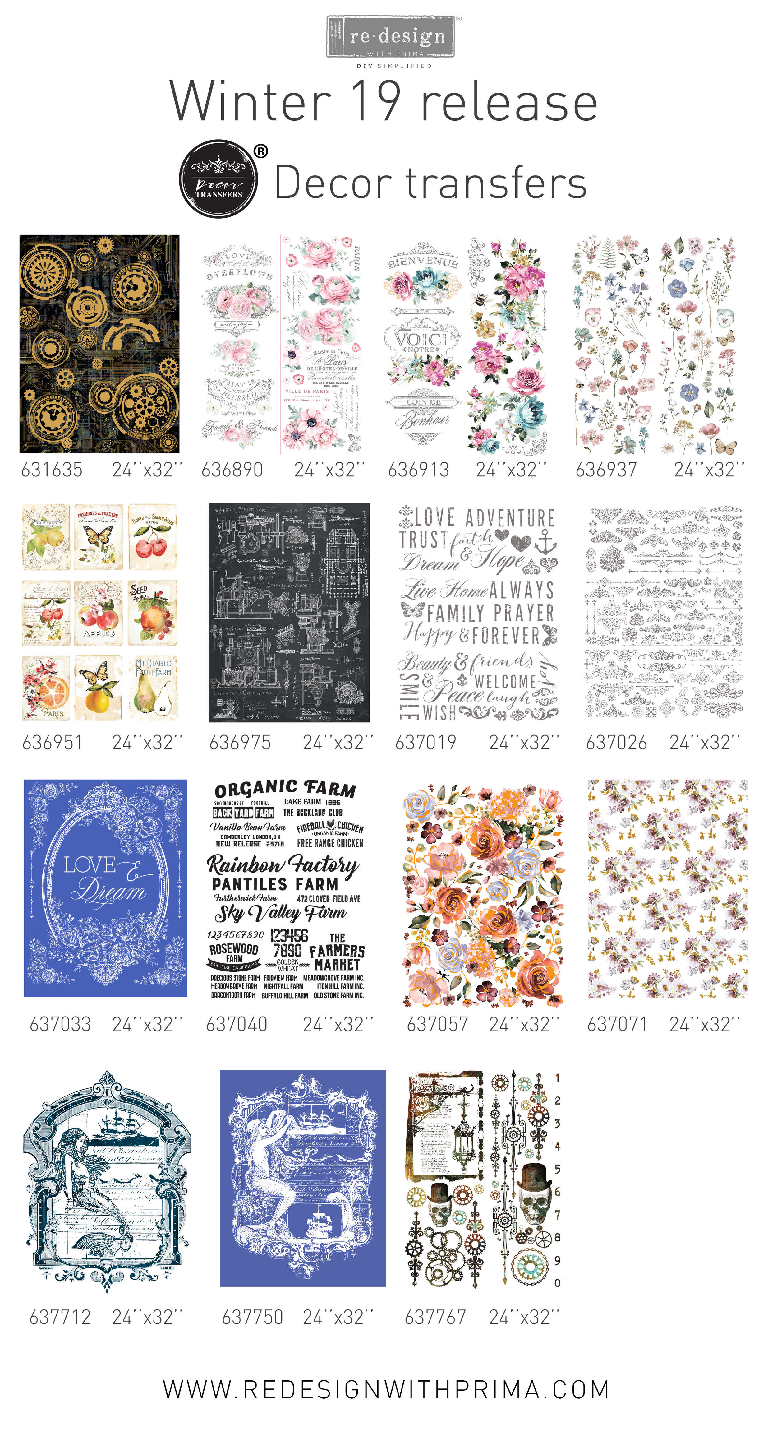 "These fresh new designs include floral images with metallic accents, scroll work, masculine machinery, a seaside beauty, steampunk and more! We wanted to offer a selection of styles and themes that are ""outside the box"" to enhance any projects you create or upcycle…"