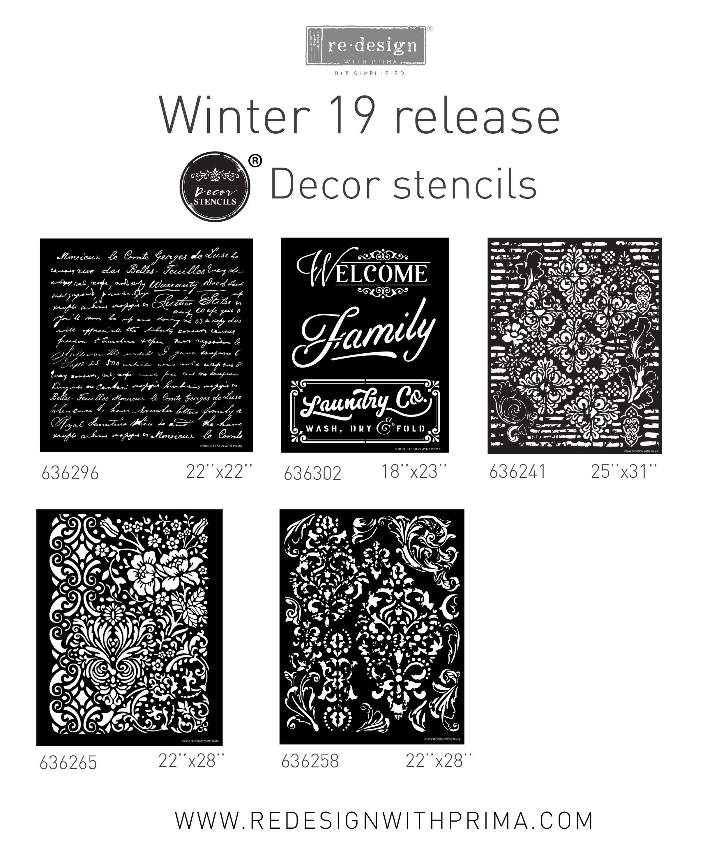 We have 5 new 3D Decor Stencil designs that are not only sturdy for adding dimensional mediums but also large enough to add detail and design to your walls or furniture projects. We combined beautiful images to create collage style designs that are sure to add drama to any project..