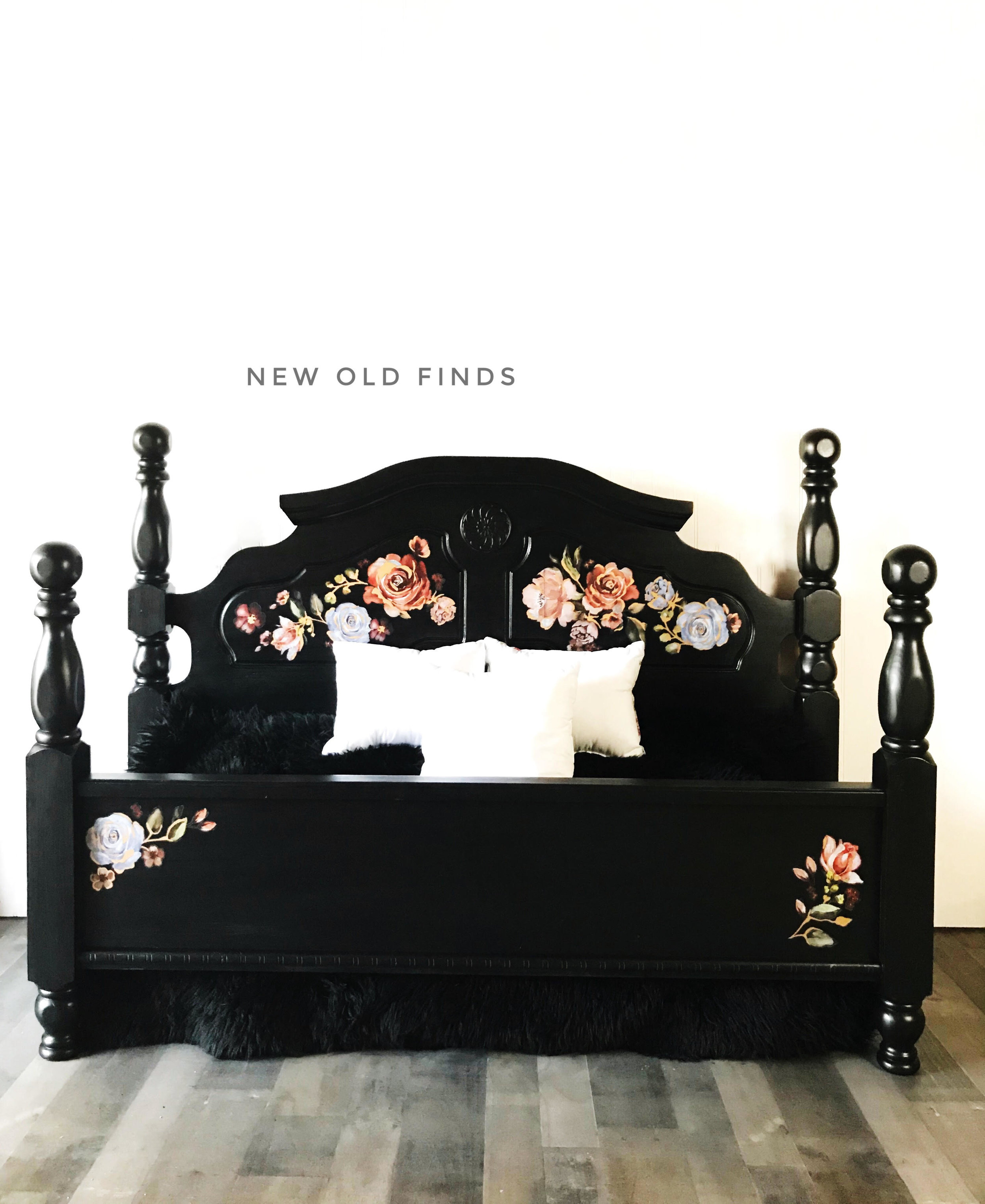 This gorgeous bed by  Roz of New Old Finds  uses the new Decor Transfer™, Rose and Rouge (637057) on a dramatic black background. It has hints of copper metallic accents throughout the floral design giving it an upscale look—it's stunning!