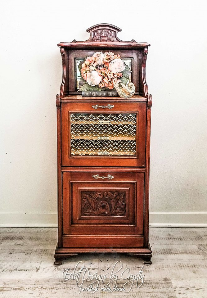 This music sheet cabinet was given a stylish, yet easy makeover using the Eastern Fountain design by  Crystin.  She used our Decor Wax over the stencil strip using a stencil brush. The results are beautiful!