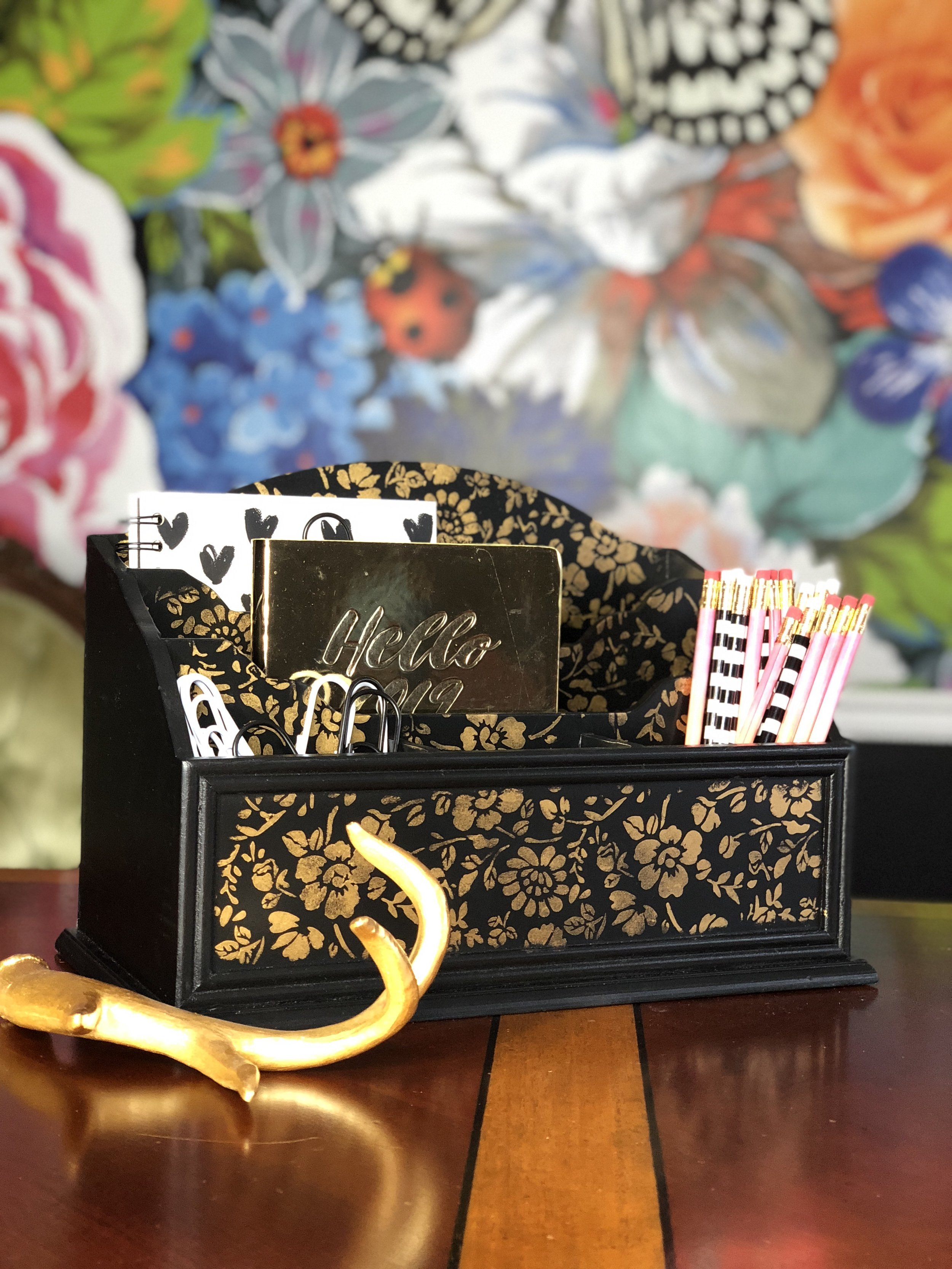 Magdalena of  Secret Garden Chic  customized drab gift boxes and gave them a fabulous face lift. She used a paste with the stencil rolls on the top to add a pretty dimensional pattern. Not only are these fabulous for gift giving but they can be used as home decor accents too.