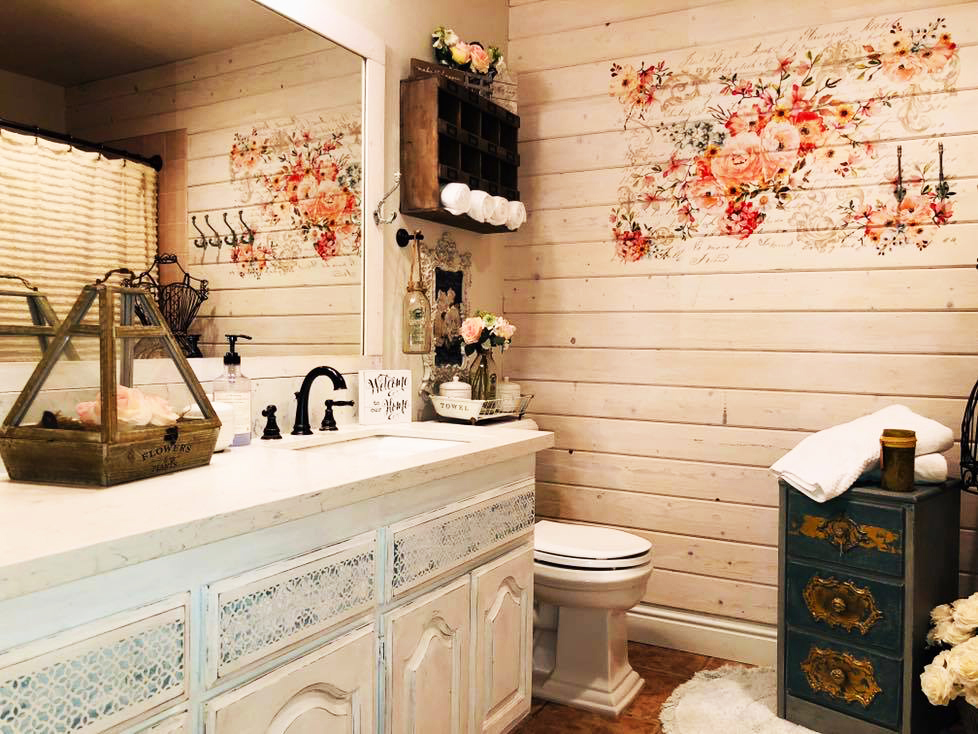 It was cute and very simple before. But this house has loads of character in each room and Denny felt that the bathroom needed to match the personality of the home. So, he got to work…
