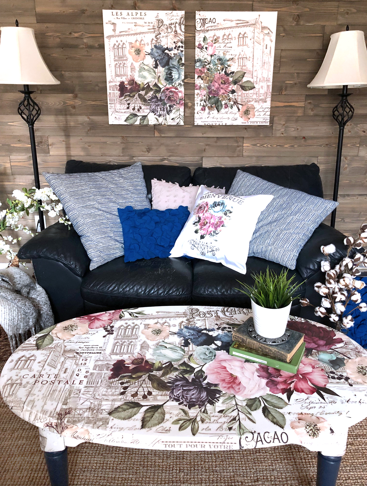 The walls in the Den got a fresh coat of paint and a shiplap accent wall was added. The walls were painted a creamy taupe to give it a fresh look and the color lends itself well for adding most decor accessories as well as accent colors…