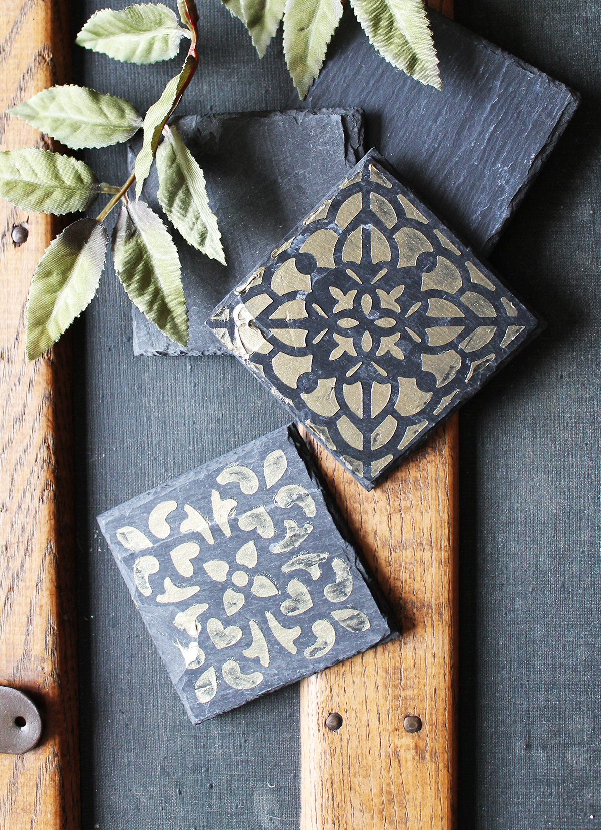 The Icing Paste can be used thicker or thinner, depending on if you want a touch of dimension. It dries permanently on porous surfaces, such as slate or untreated soapstone tile. The paste went over the stencil so smoothly and it wipes right off the stencil paper for easy reuse.