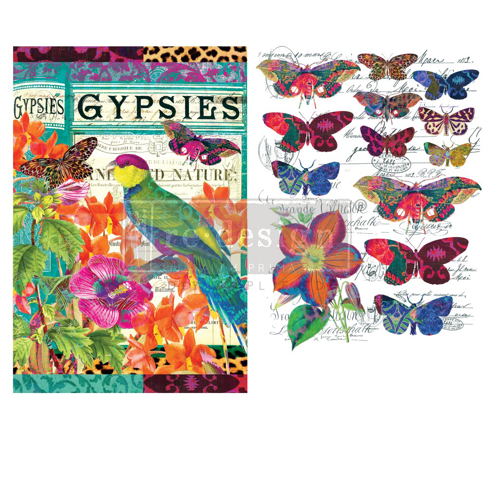 Here, you can see partial images from the transfer can make a big impact on the overall design. The butterflies just flit across the piece in a carefree way…