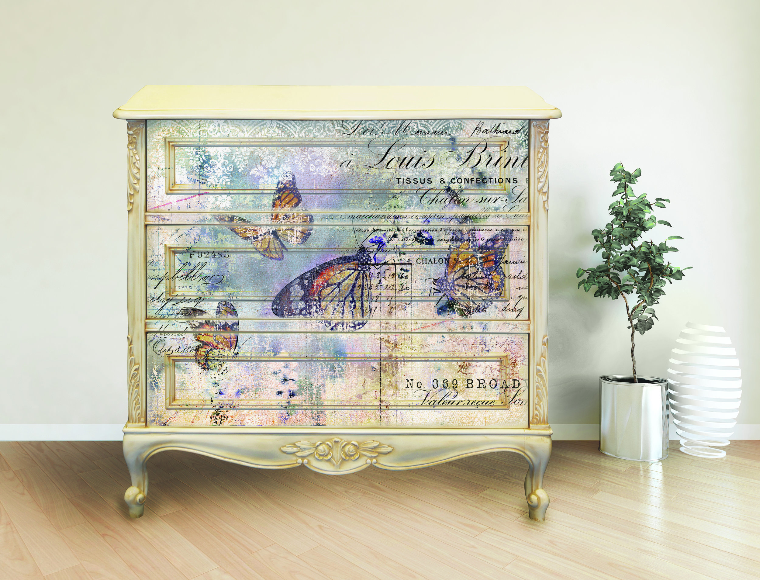This soft and floral collage transfer is called (appropriately) Floral Gardens (638689). The pastel colors and script work beautifully together for a one of kind rich look.