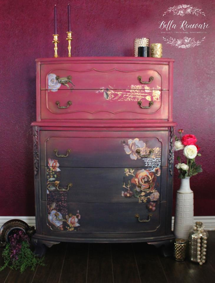 CrysDawna  cut out floral designs from Rose and Rouge transfer to place in the areas around the drawer fronts. She framed them in with the built in molding on the dresser. This transfer has beautiful metallic accents throughout the design too. So adding the foiled designs compliments it perfectly.  The paints used on the dresser are Plum Crazy and Aubergine from  Dixie Belle Paint Company . Arent they beautiful? Then she applied a mixture of waxes and Easy Peasy Spray Wax to seal it.