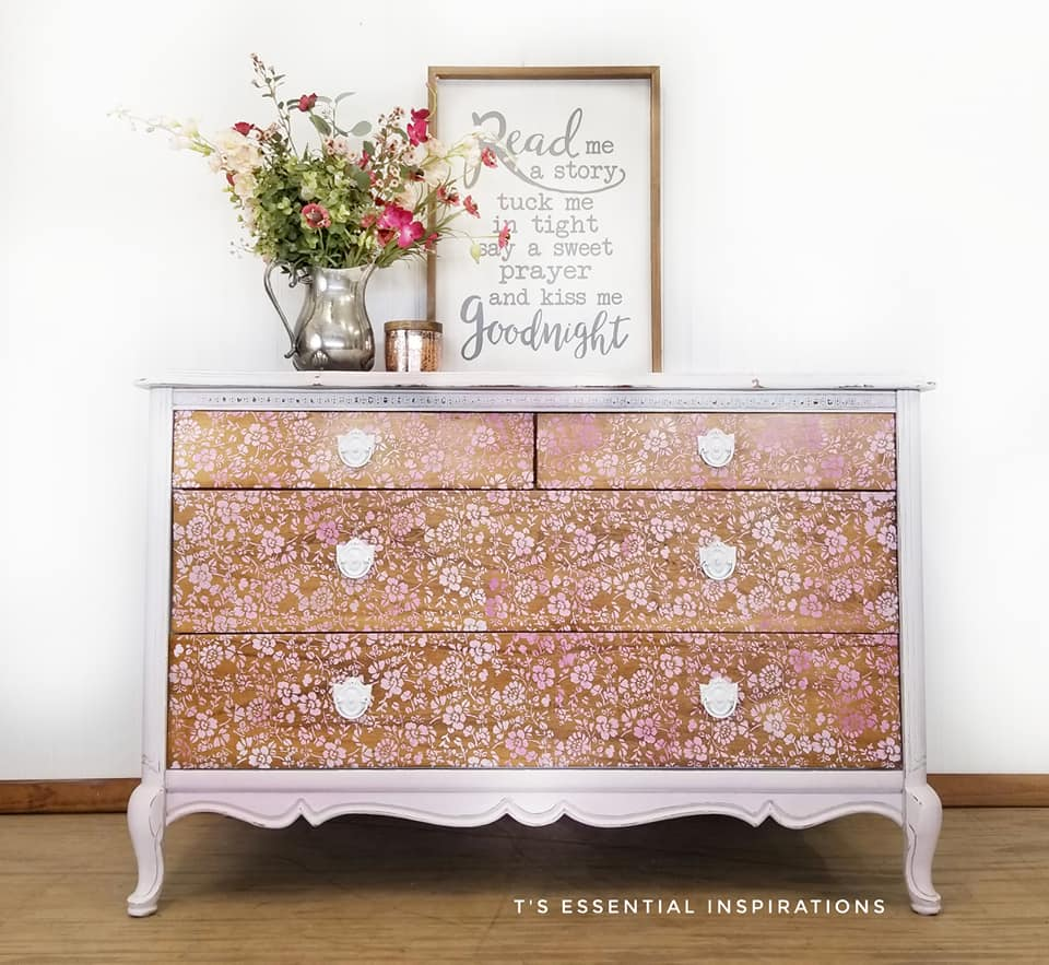 Theresa used the Cornelle Garden Stencil over raw wood with various shades of white and pink to create this amazing effect on the drawers. It looks like lace-dont you think? The roll comes in 15 yards, so cut any length you need to fit the area you want to stencil on. We love how this sweet piece came together. You can use any chalk style paint you like over the stencils and customize to your heart's content!