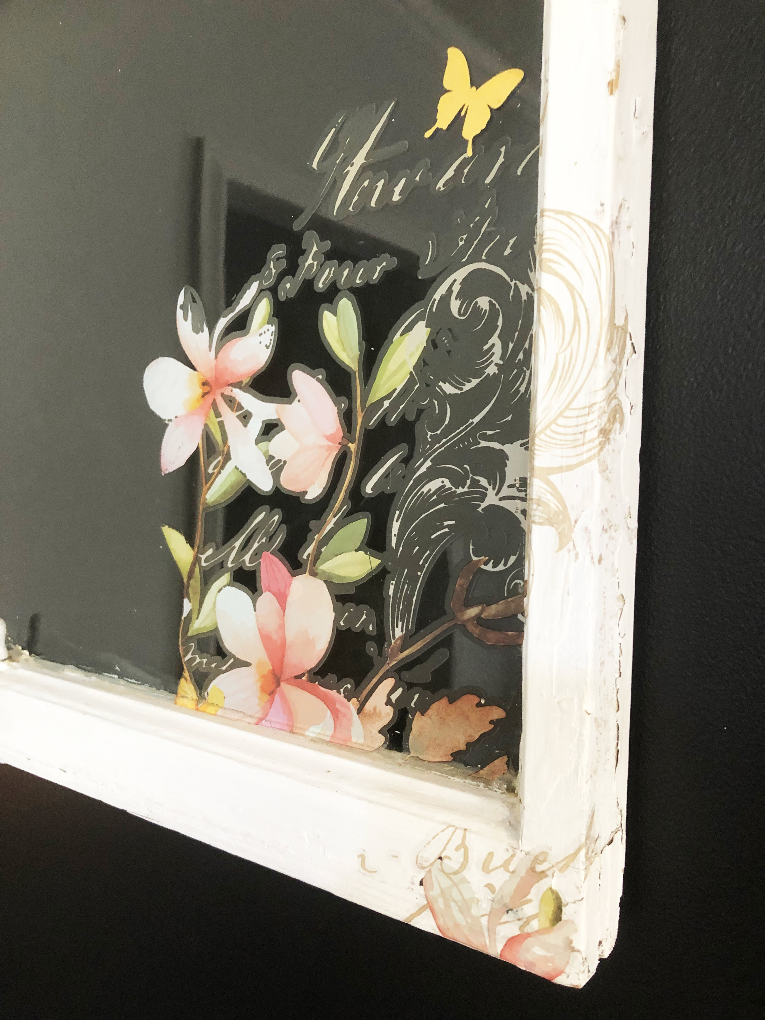 This sweet cabinet was given a rustic paint finish and a bit of design using the Silkscreen Stencil and paint. This delicate pattern was the perfect touch for the piece…