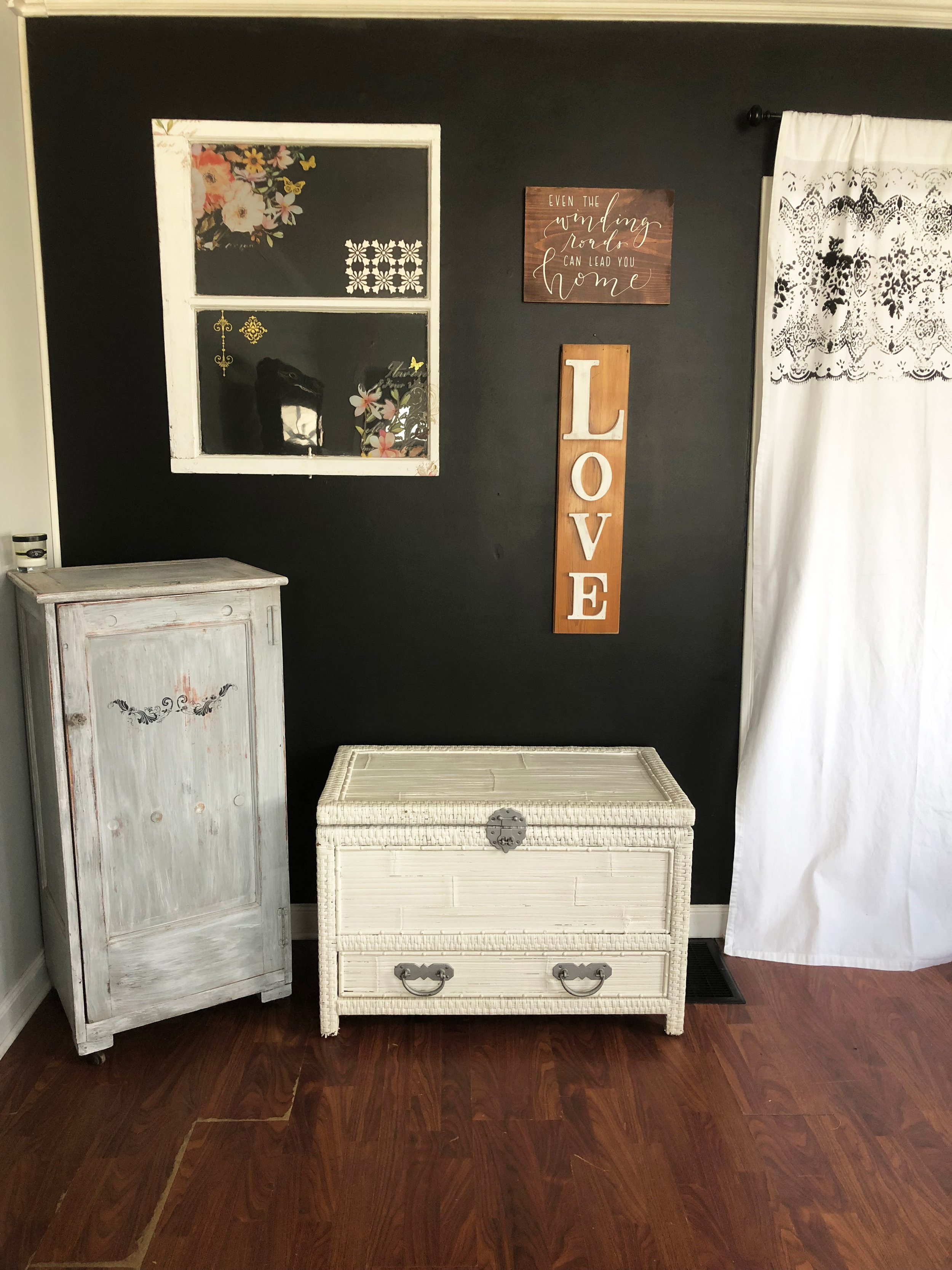 Create your own gallery wall by mixing and matching wall decor pieces like this. It adds character and allows you to personalize it any way you wish.