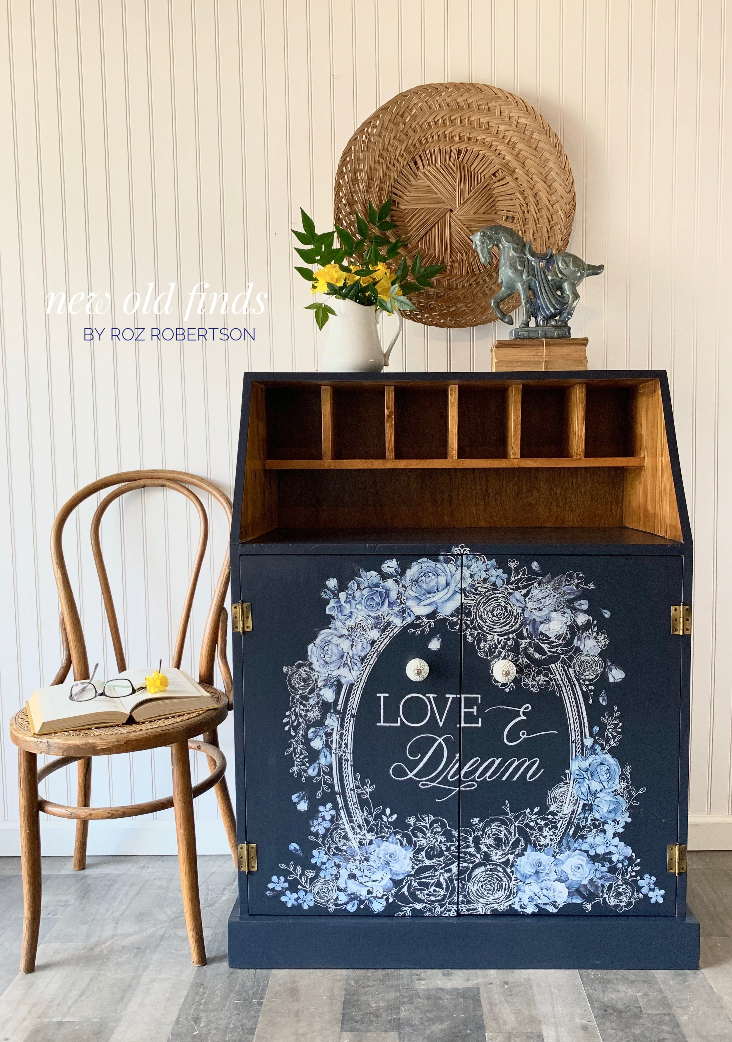 """Love & Dream """"I really wanted to do this piece justice, it's a hand built secretary desk and there is an inscription on the back, it's very very well made but lacked oomph so I have prettied her up and I think she is a doll now and would make a wondrous statement piece. New blue and white knobs were added to the doors and they work perfectly…."""""""