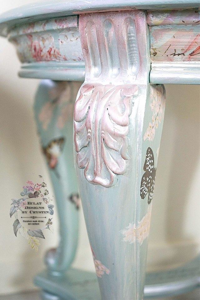 Birds and butterflies were scattered around the legs with branches and hand painted flowers. The Parisian Butterfly set is perfect for using in areas to add detail, especially on smaller areas like this.