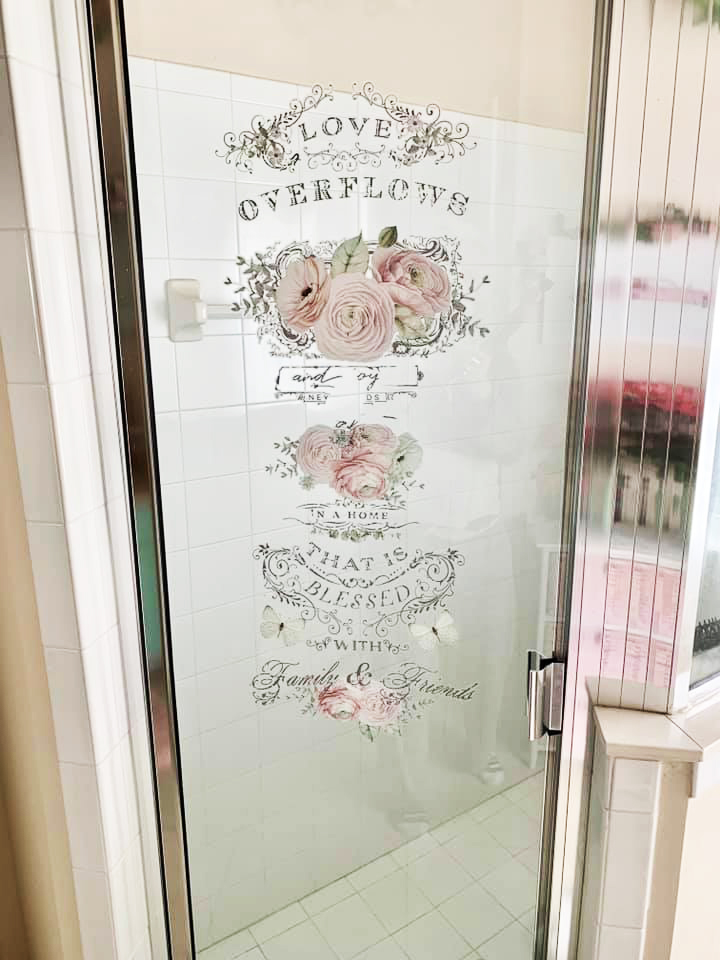 And she applied more flowers on the shower window too to carry out the look. The transfers work so wonderfully on glass and mirrors and this is a great example of that…