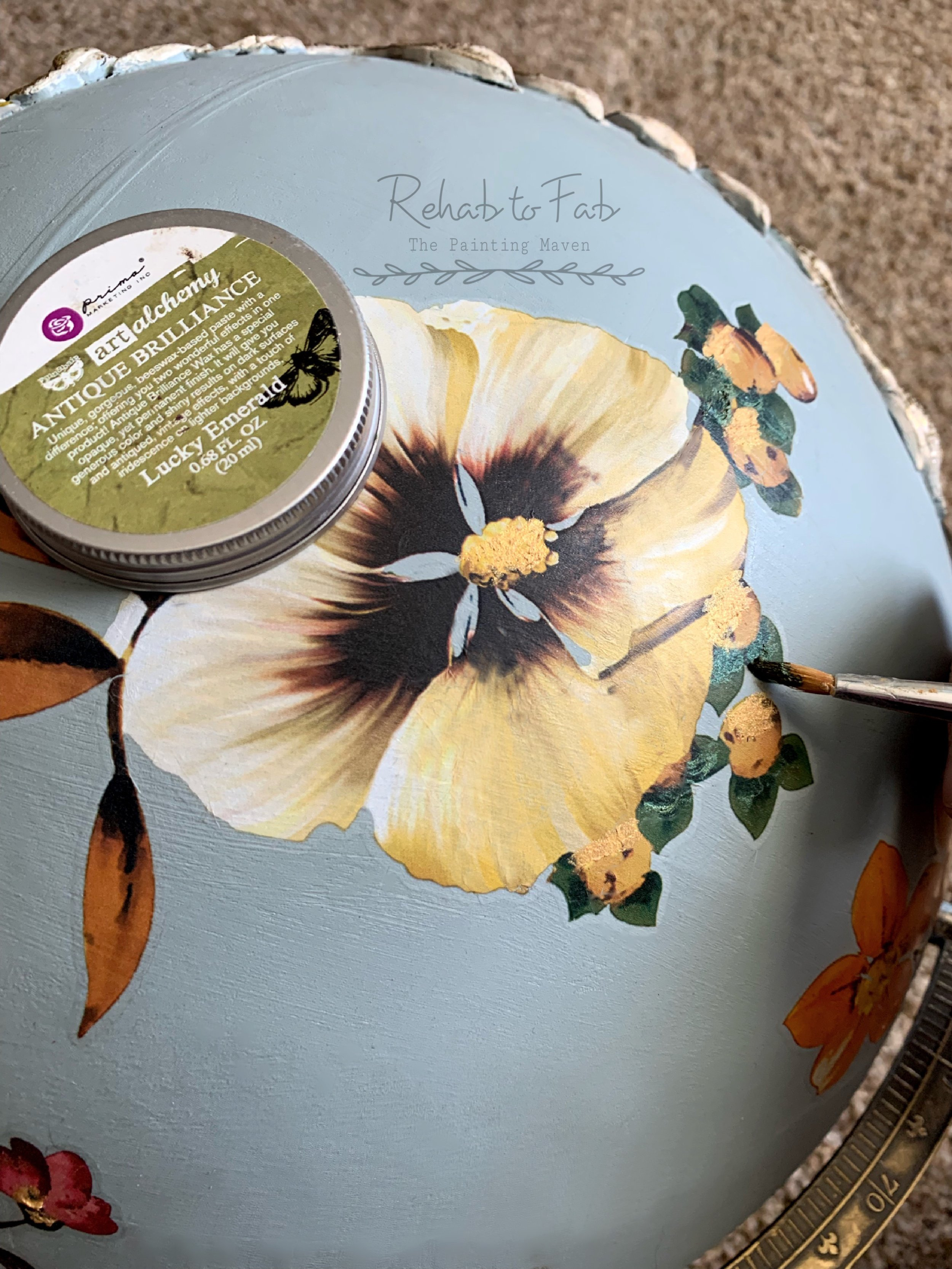 Here you can see I also add some of Finnabair's  Micro Beads  in the color Pollen and Art Alchemy  Vintage Gold  wax: