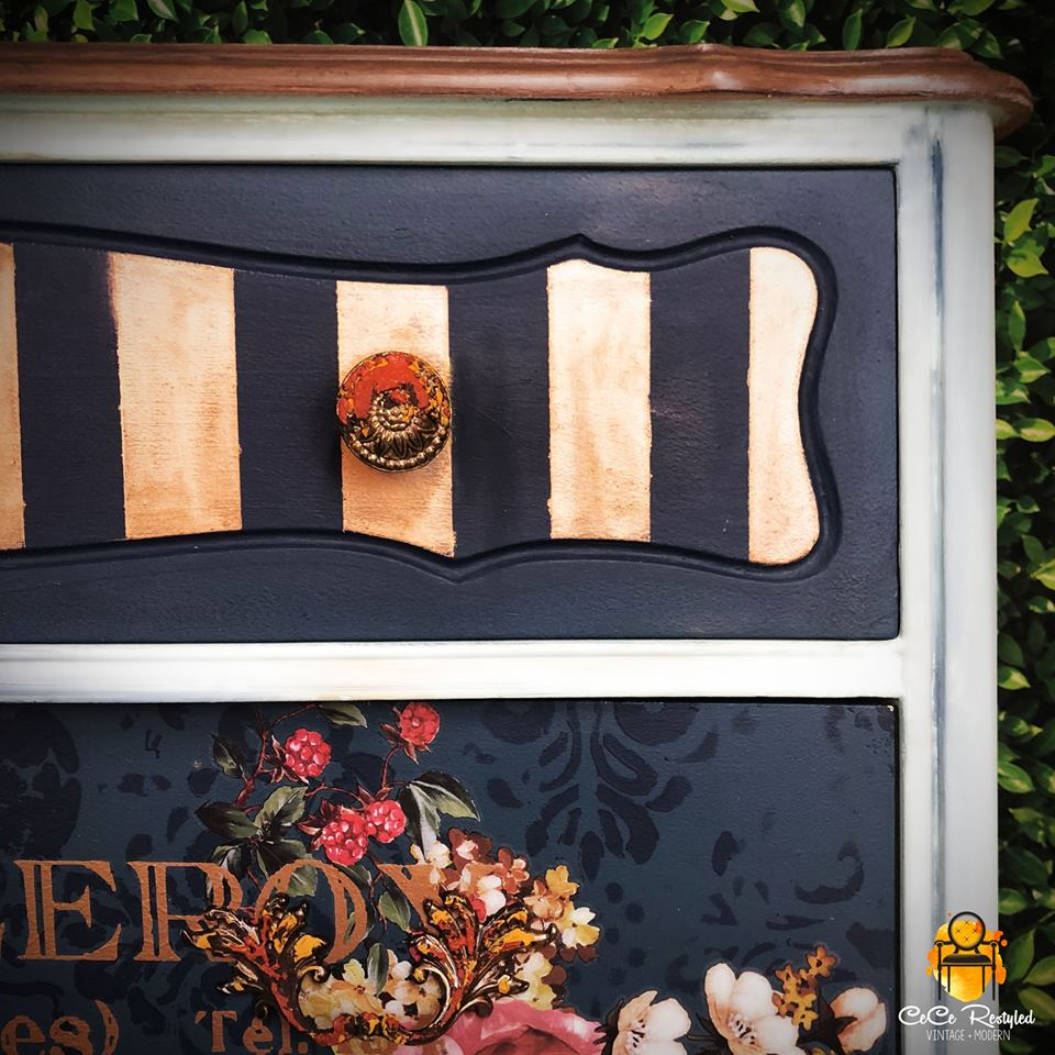 """The bottom drawer fronts are painted navy with a large re·design stencil called Diamond Grunge (636241) for texture, and then the transfers added for another layer of color and personality…"""