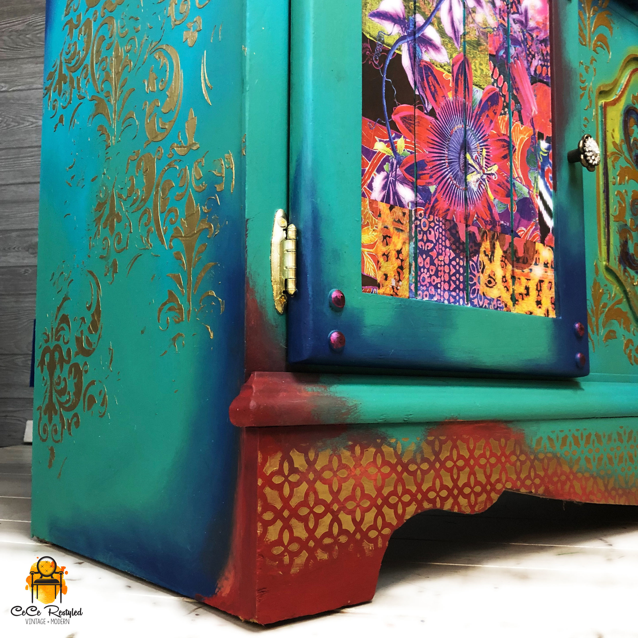 The drawers have decoupaged elephants peeking out from the corners and on the doors I used a colorful Boho Decor Transfer called Patchwork. The new hardware adds even more sparkle to this bright statement piece!