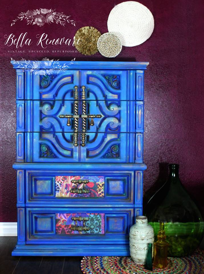 This cobalt blue beauty shows off  Crys'Dawnas  style perfectly! The electric color paired with the Patchwork Decor Transfer, subtle stenciling and metallic accents all go amazingly together. If you want to see what she used and how this transformation took place, then visit her blog post  here.