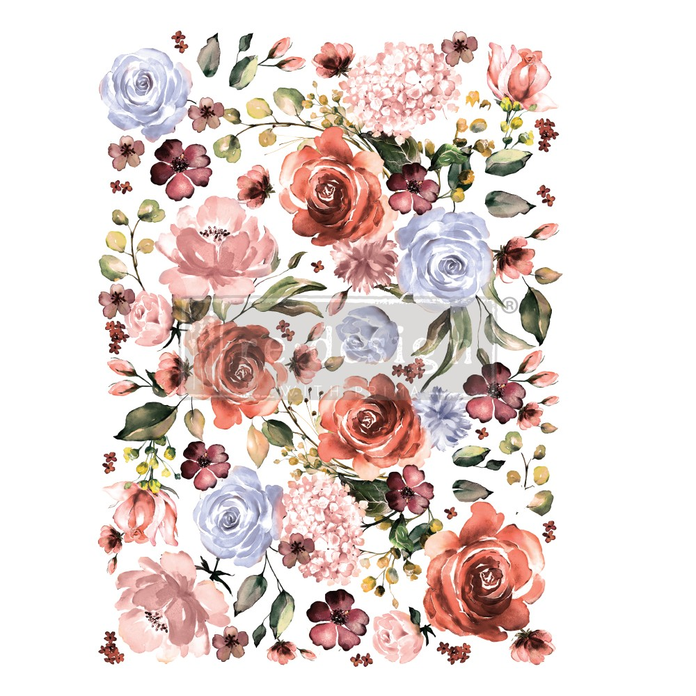 He continued with his design, adding the Rouge and Rose Decor Transfer™. This transfer is perfect for cutting apart as well so you can add individual flowers to build up the design where you like. Love how he had the flowers cascading up the wall.