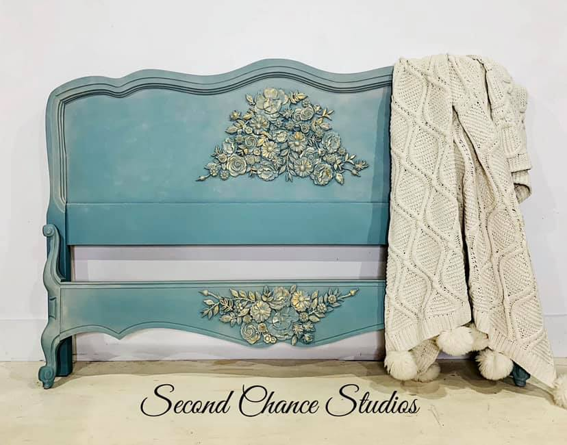 This stunning bed by Kimberly Collier of Second Chance Design Studios 29 uses the Modeling material with a variety of our boutique designed moulds. Love the blue painted background with lush gold accents over the appliques…See her page for more furniture using this same technique  here .