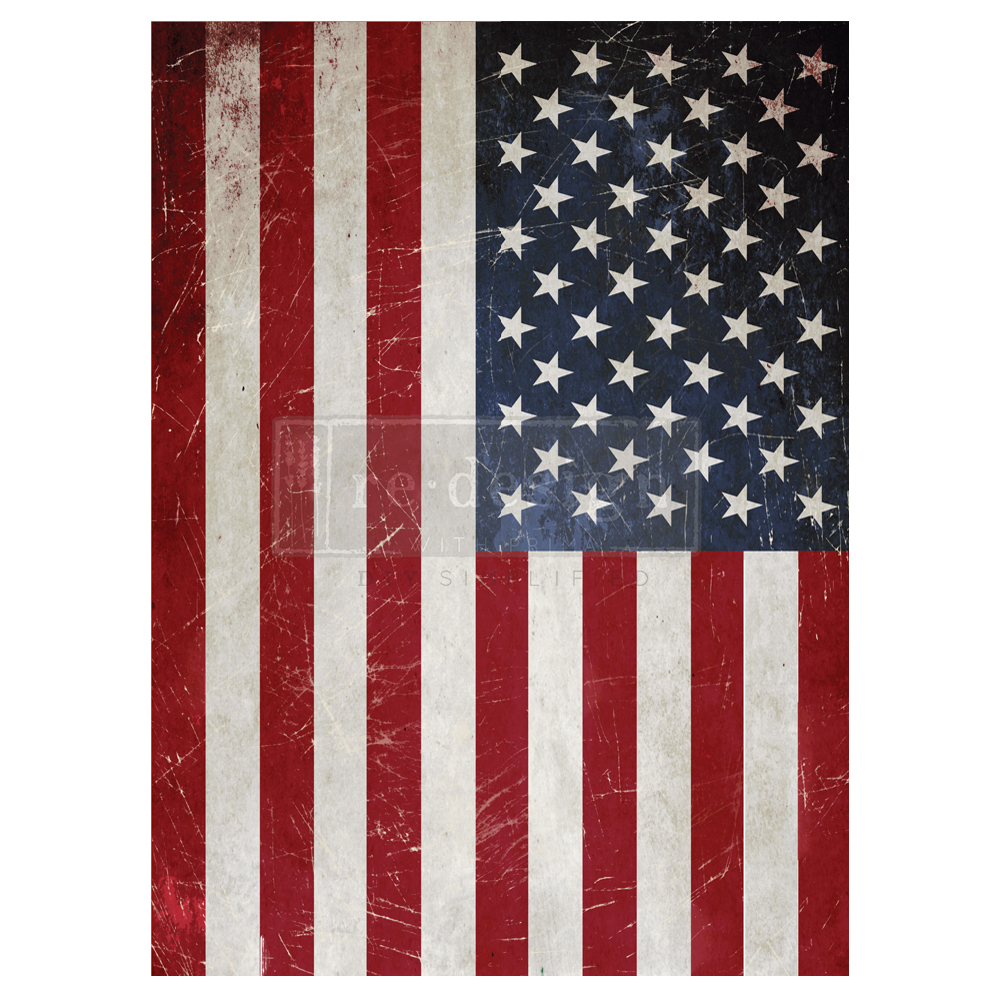 """This transfer is called """"America"""". It has all the stars and stripes along with a bit of distressing to give a rustic look that will look amazing on your rustic furniture pieces…"""