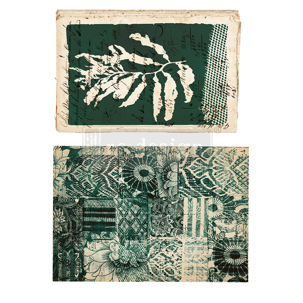 """This collage style transfer """"Algae"""" has deep gorgeous hues of green and the mixture of patterns are perfect!"""