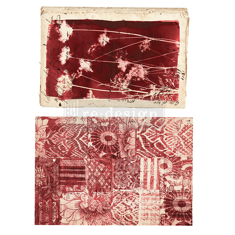 And we have the sister set to Algae called Botanical Print. This has warm red hues with the same boho style and lovely patterns….