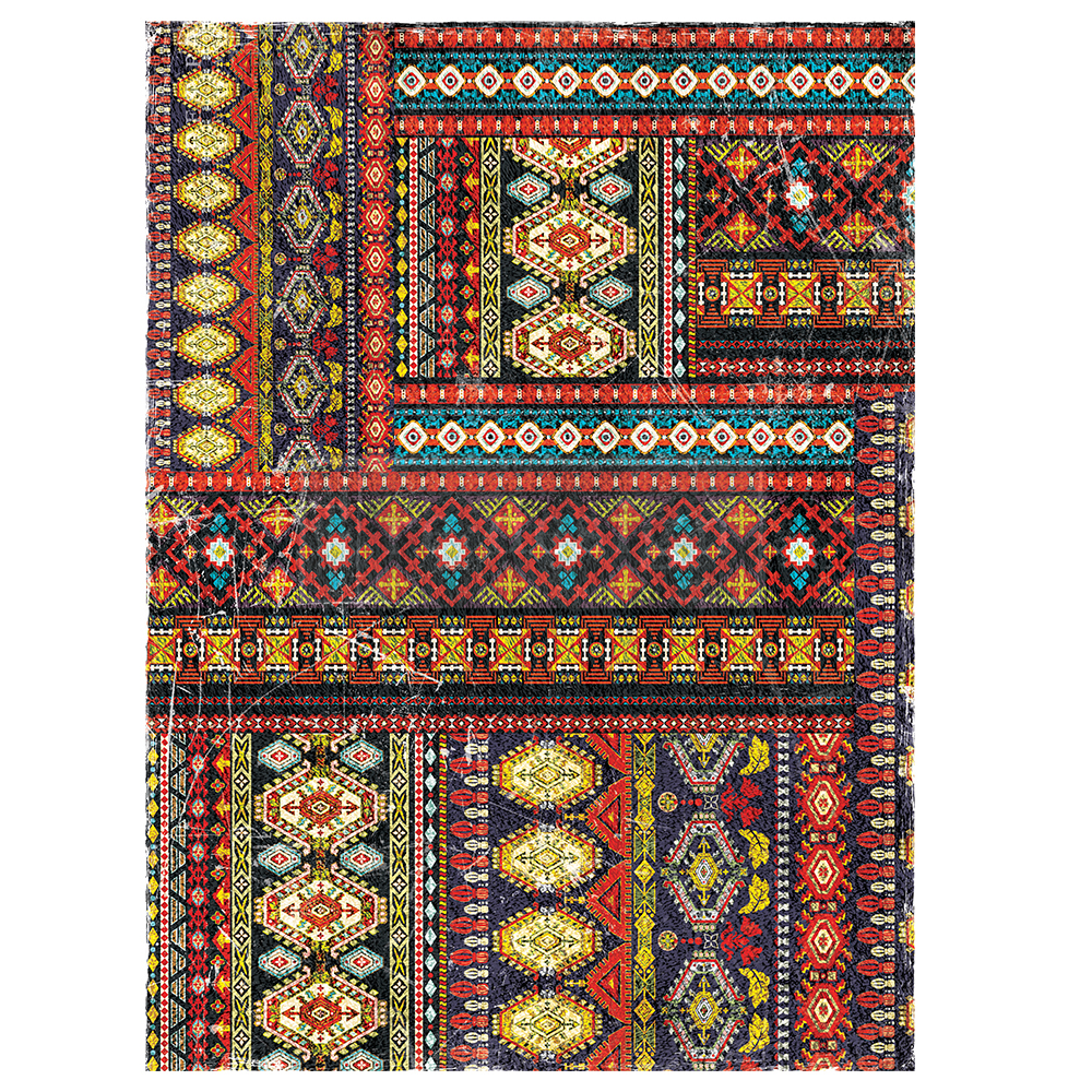 """This Southwestern style transfer is called """"Western Tapestry"""". Love the patterns and fun pops of color throughout the design. Great transfer to cut apart and use in pieces."""