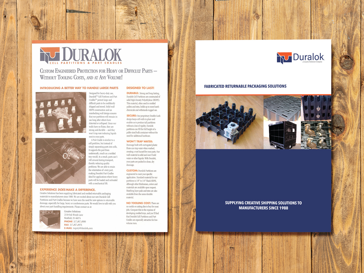 Original one-pager on left updated bi-fold brochure on right.