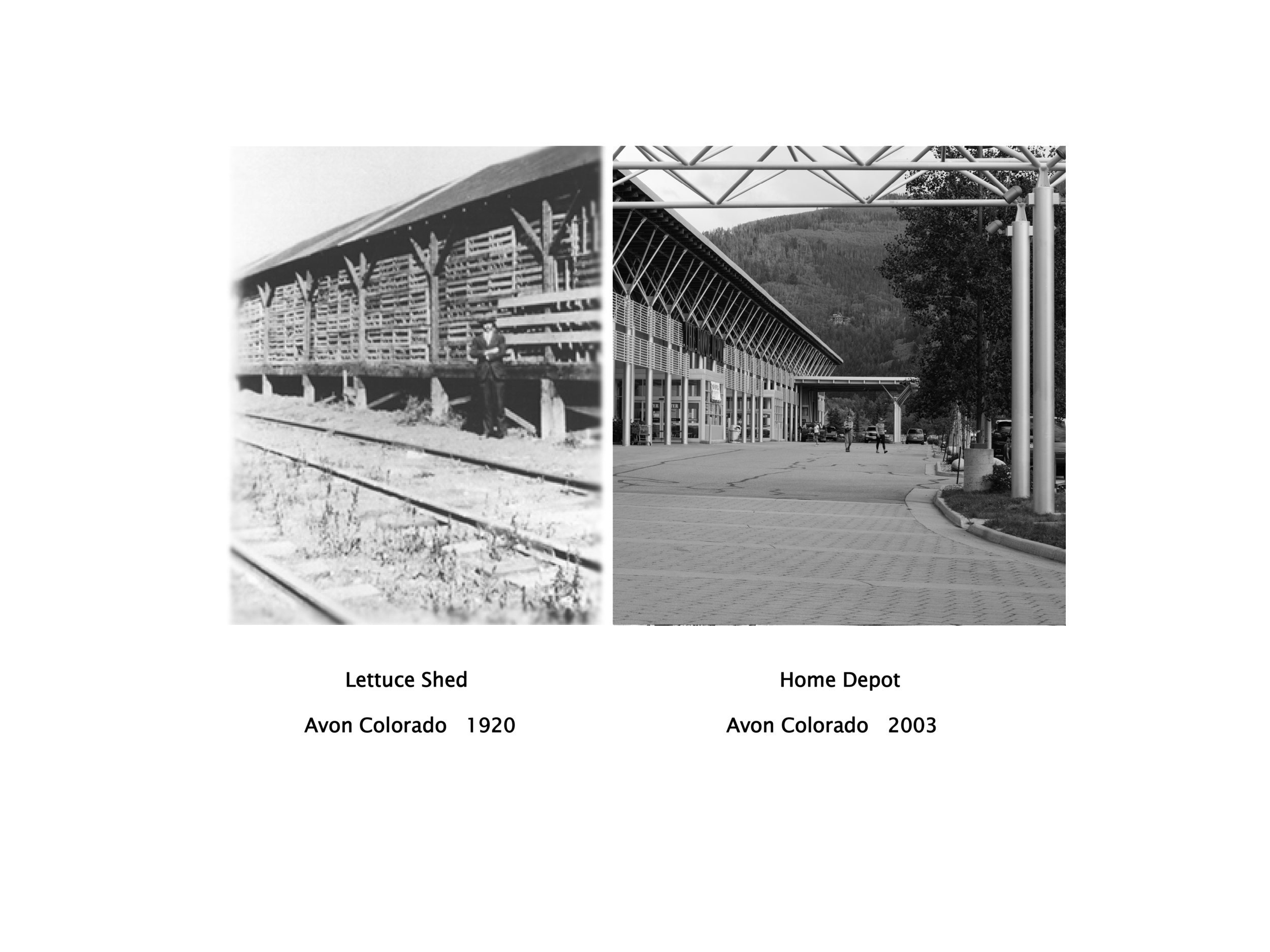 Arthur Erickson drew inspiration from the old Avon lettuce sheds when designing the colonnade canopies in front of Walmart and Home Depot.