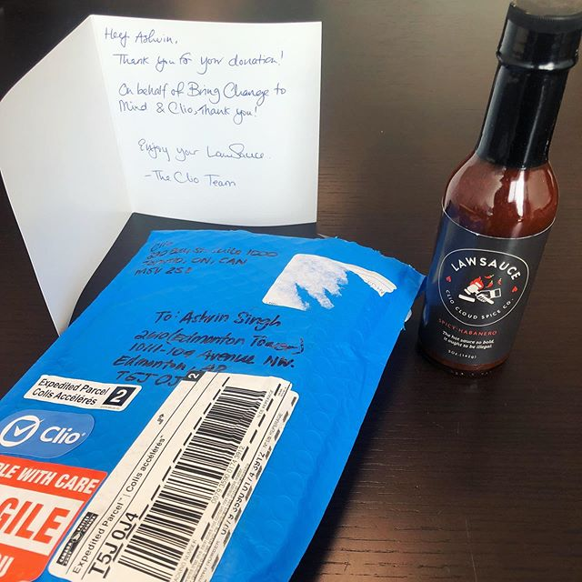 Our co-founder @ashvinsingh decided to buy some @goclio Law Sauce! Thanks Clio!
