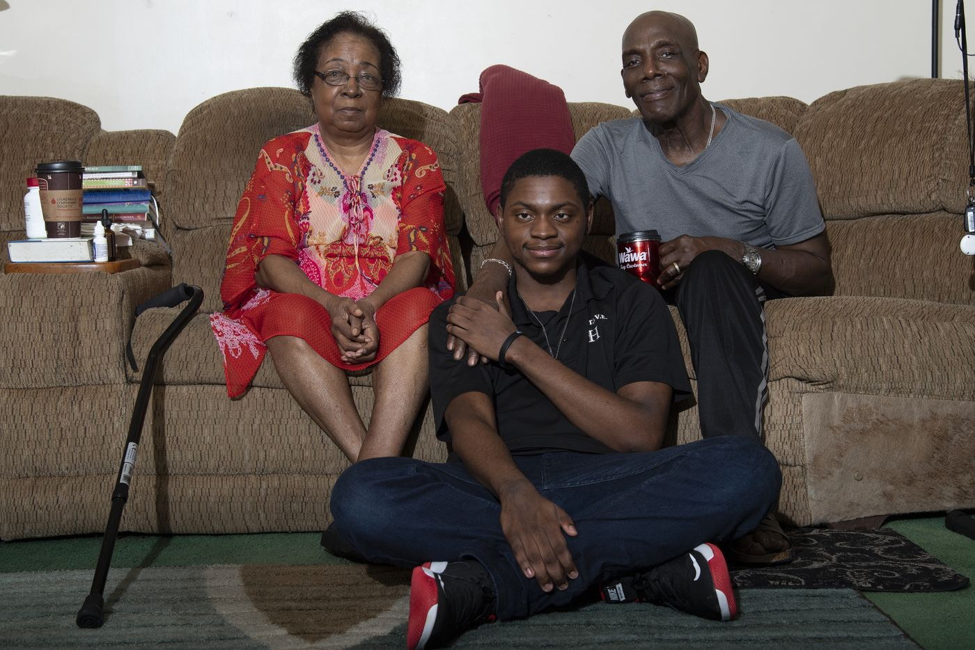 JOSE F. MORENO / STAFF PHOTOGRAPHER   Harold and Mildred Cambridge with their adoptive son Andrew at their home in Willow Grove. Andrew has fetal alcohol syndrome.