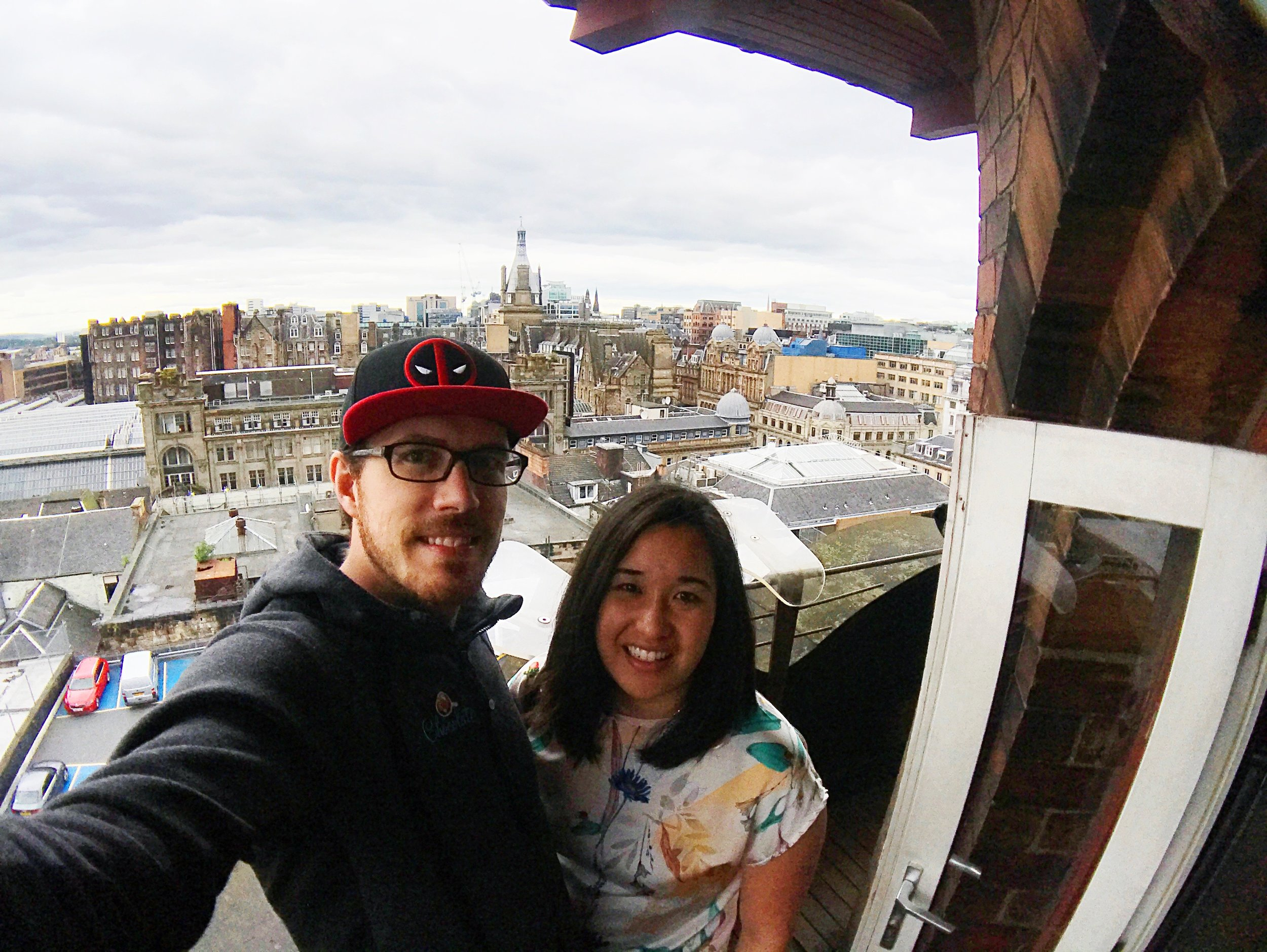 Us at the top of The Lighthouse, overlooking Glasgow