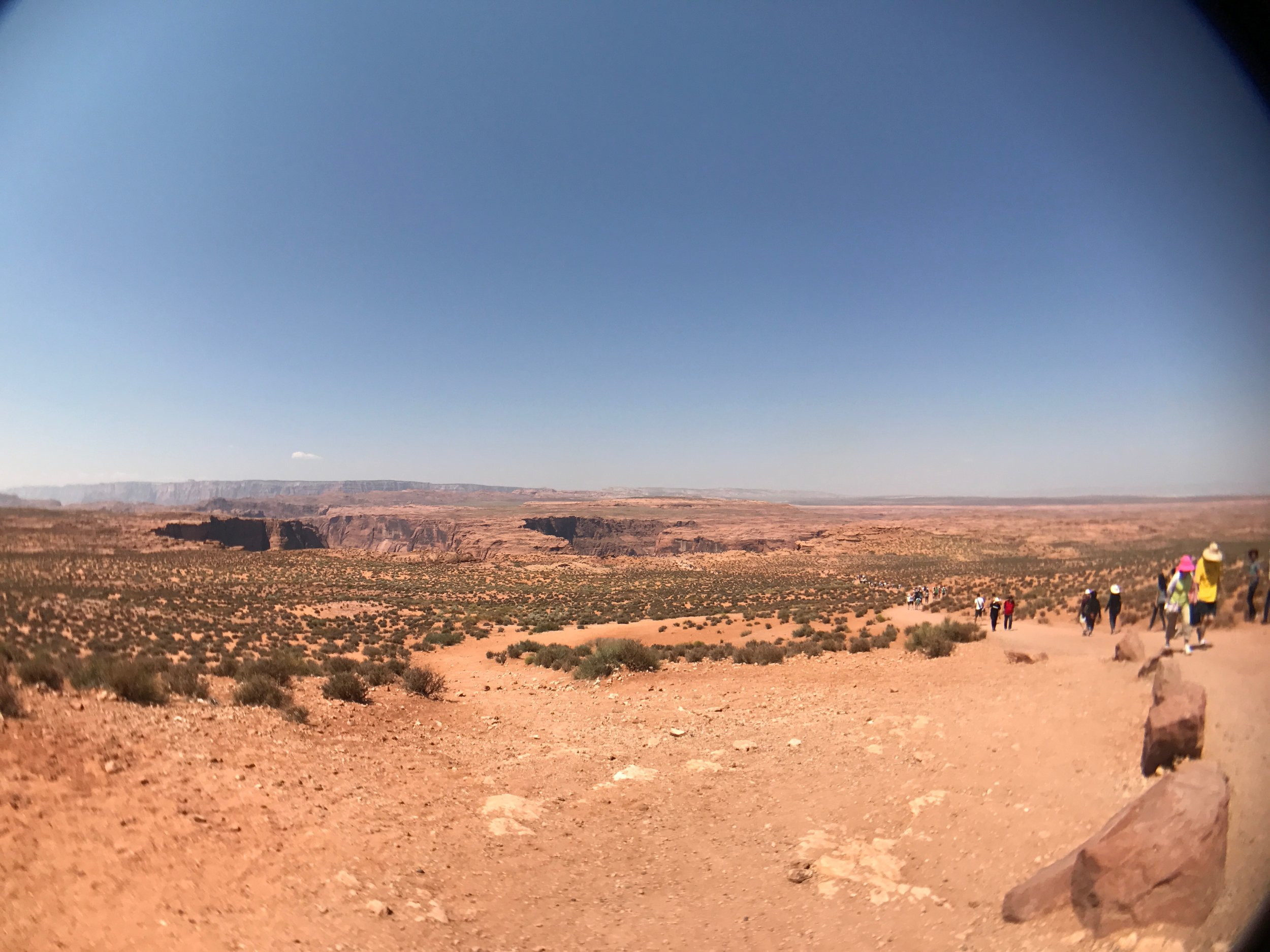 My view of the trail to Horseshoe Bend in Page, AZ from atop the hill