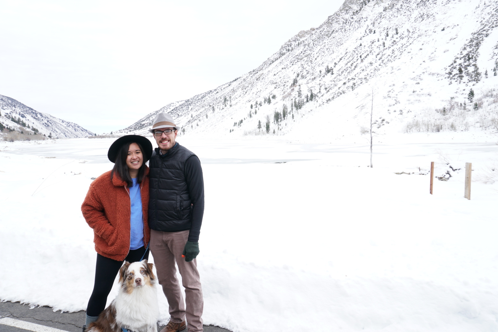 In front of frozen Lundy Lake