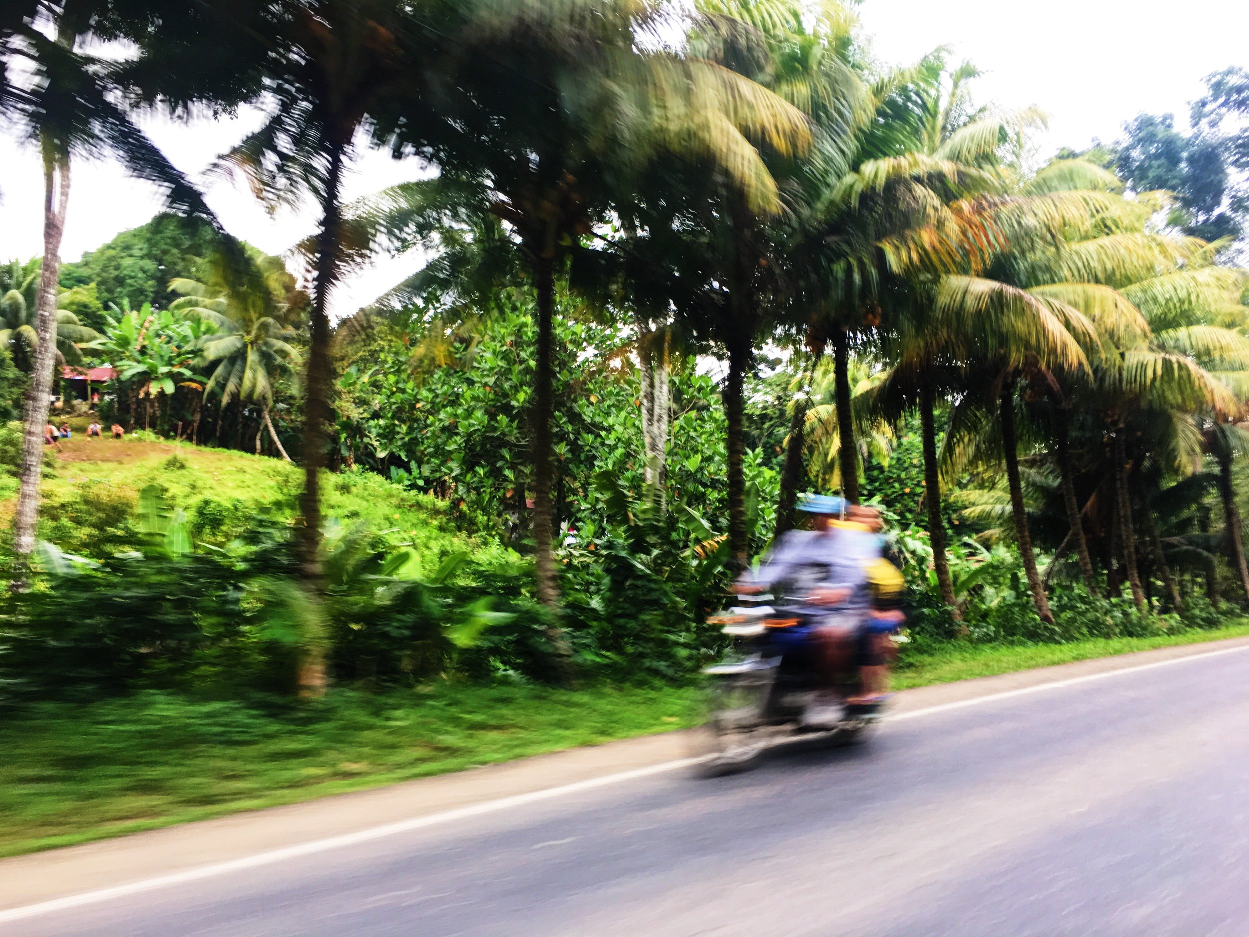 Motorcyclists brave the perilous roads often without helmets!