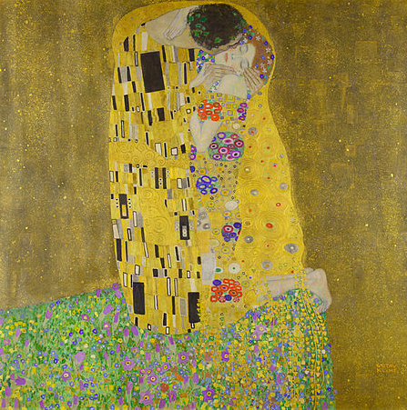 The Kiss  (Lovers), oil and gold leaf on canvas, 1907–1908. Österreichische Galerie Belvedere, Vienna