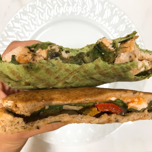 Today's lunch was left overs. Delicious sandwiches from  The Perfect Blend . One half was grilled chicken caesar on a spinach wrap and the other was grilled veggies, hummus, feta cheese on whole grain toast. Very nice when I don't have to prep my lunch!