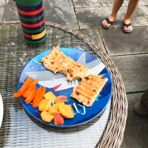 Robert's lunch was grilled tuna and cheese on Lavash flat bread with carrots and peaches.
