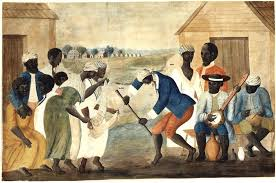 Slaves gathering, dancing playing instruments