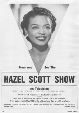 Advertisement for the 'Hazel Scott Show'