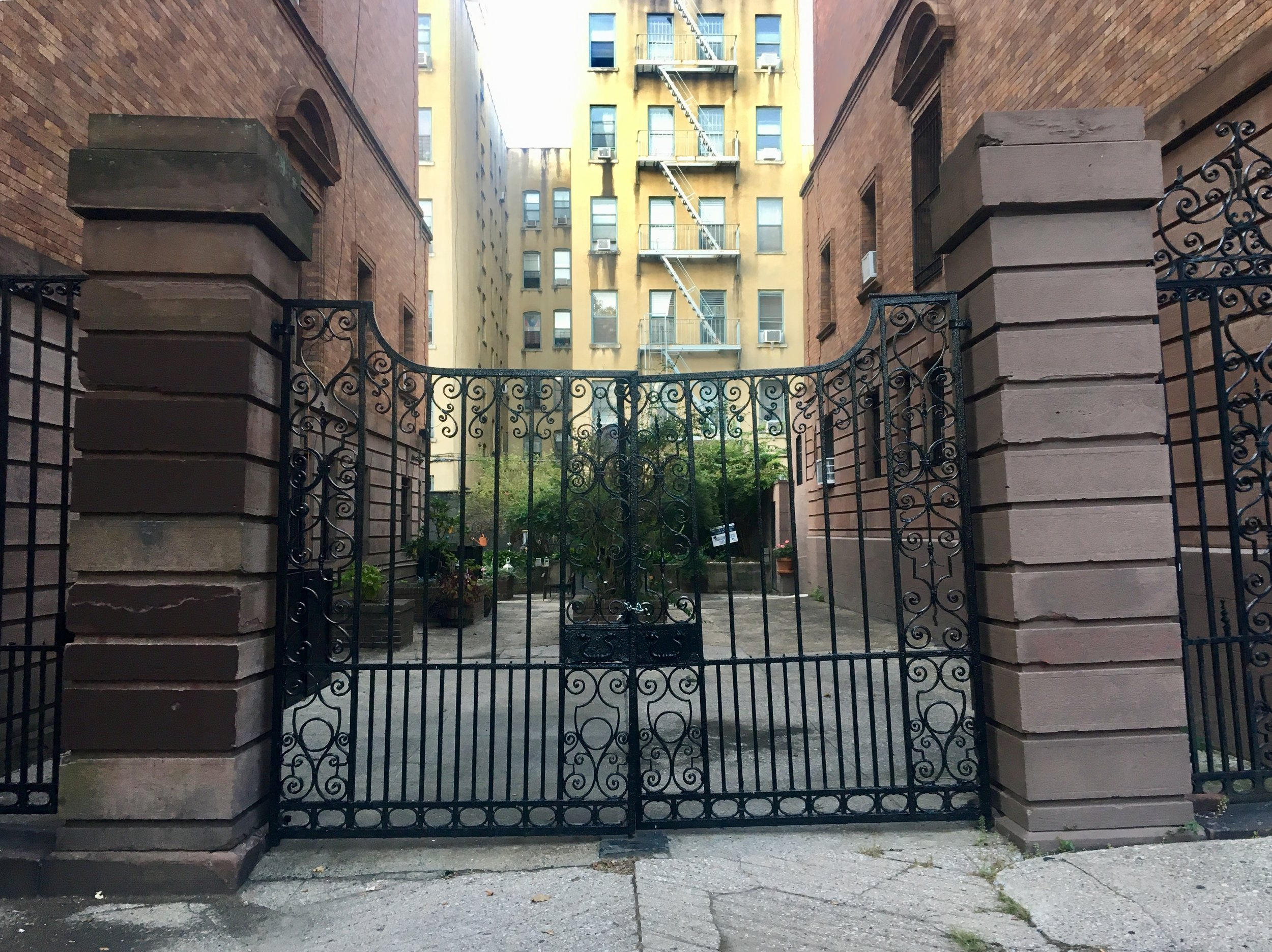 Photos from my  'Black As Eastcoast ' summer 2019 tour  Alleys are very rare in NYC, the houses have alleyways which were used as stalls for horses and private delivery. Today these are used for parking, another rarity in NYC.