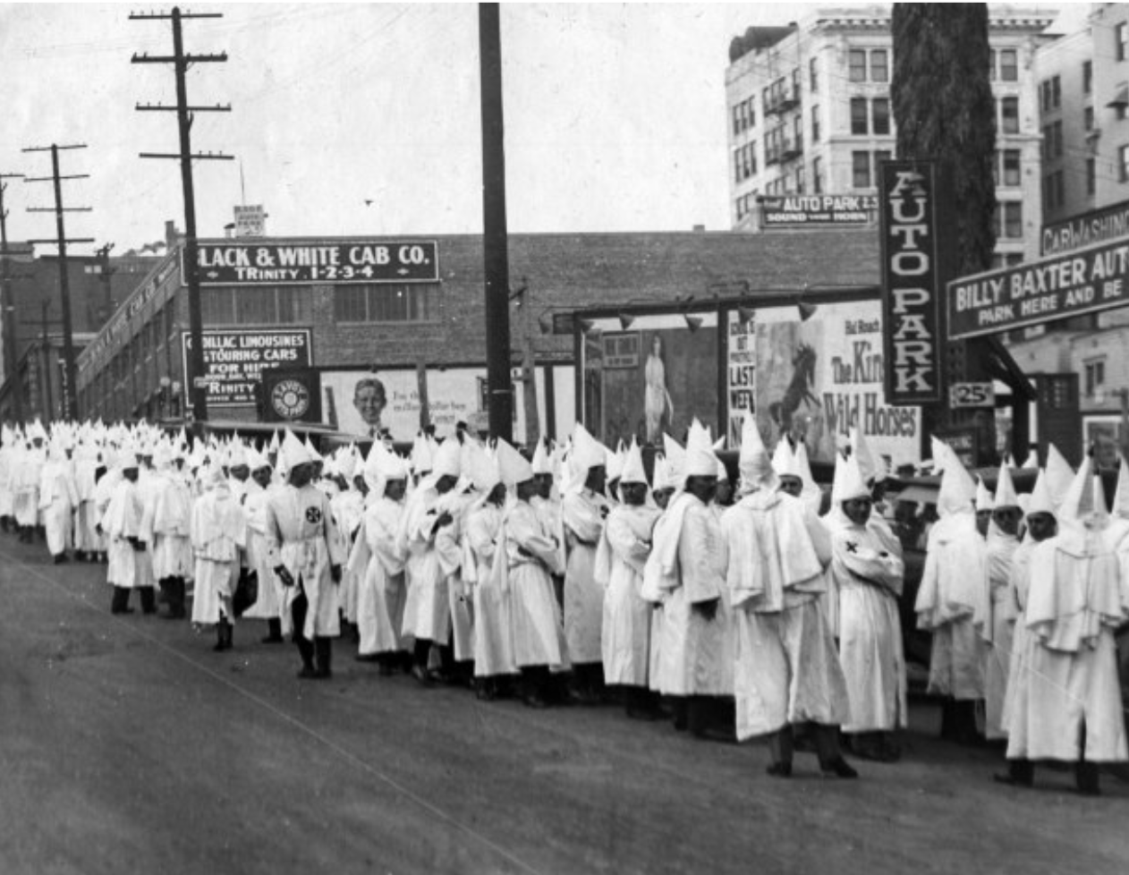 June 29, 1924: Members of the Ku Klux Klan gather at 5th and Olive streets in downtown Los Angeles for church service at the Temple Baptist Church.      (Los Angeles Times)